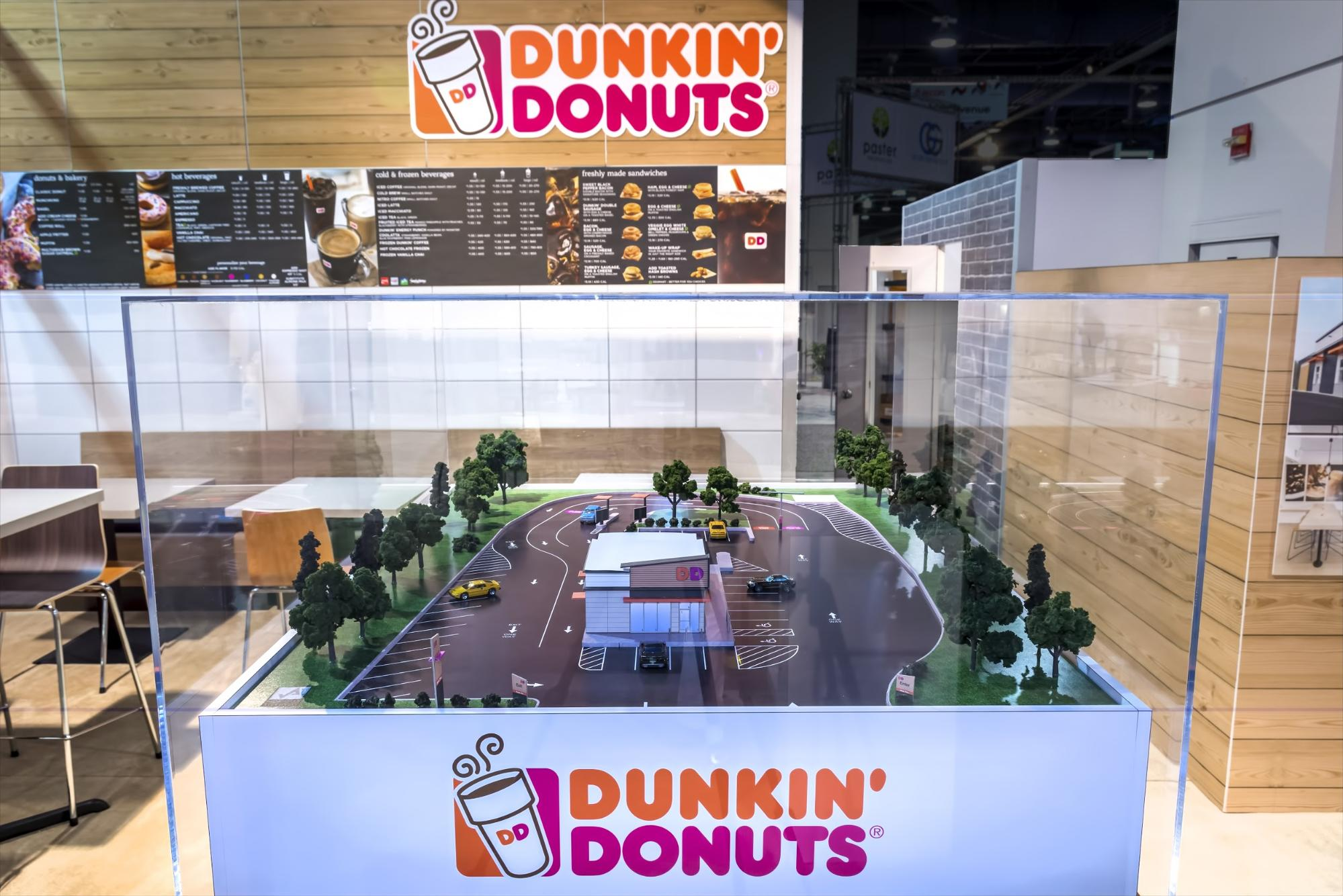 Dunkin' Donuts trade show booth with small-scale model of the store