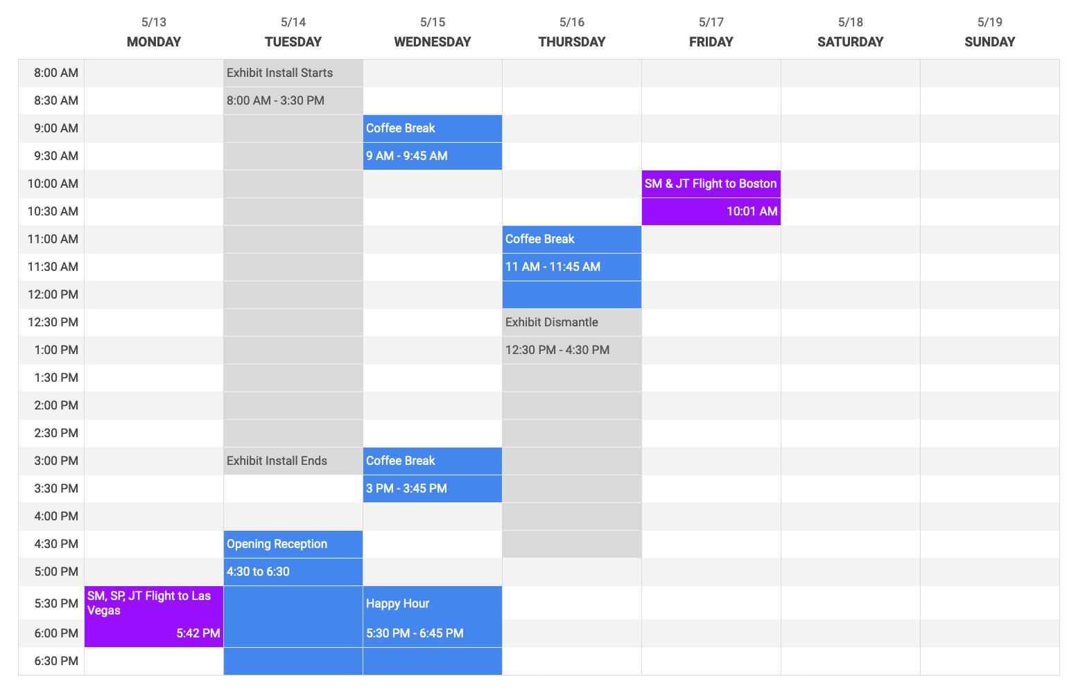 Trade show schedule